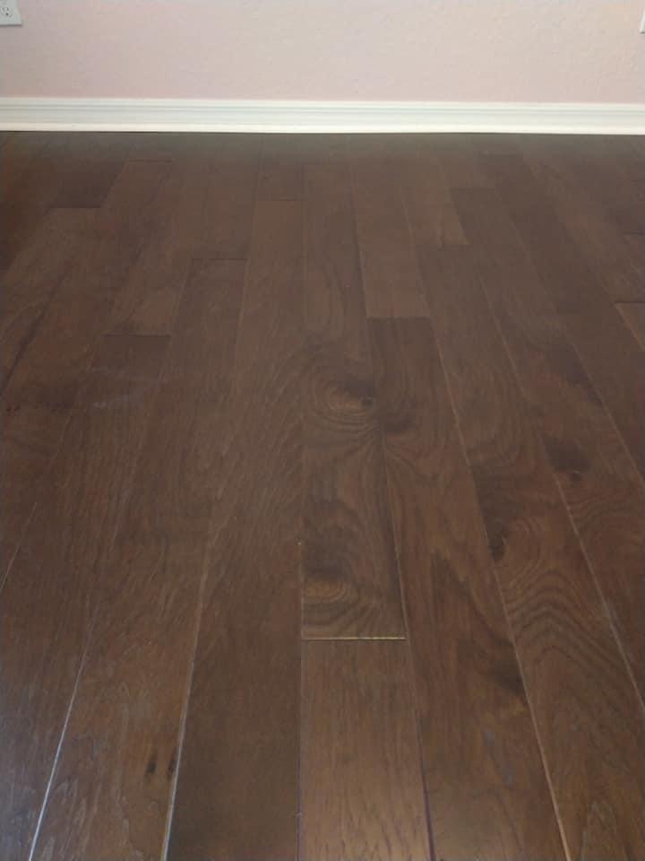 Close-up of new hardwood flooring