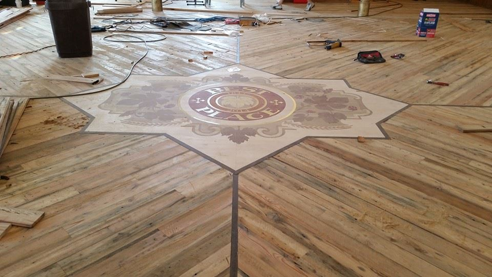 Best Place in Historic Pabst Ballroom Wood Inlay