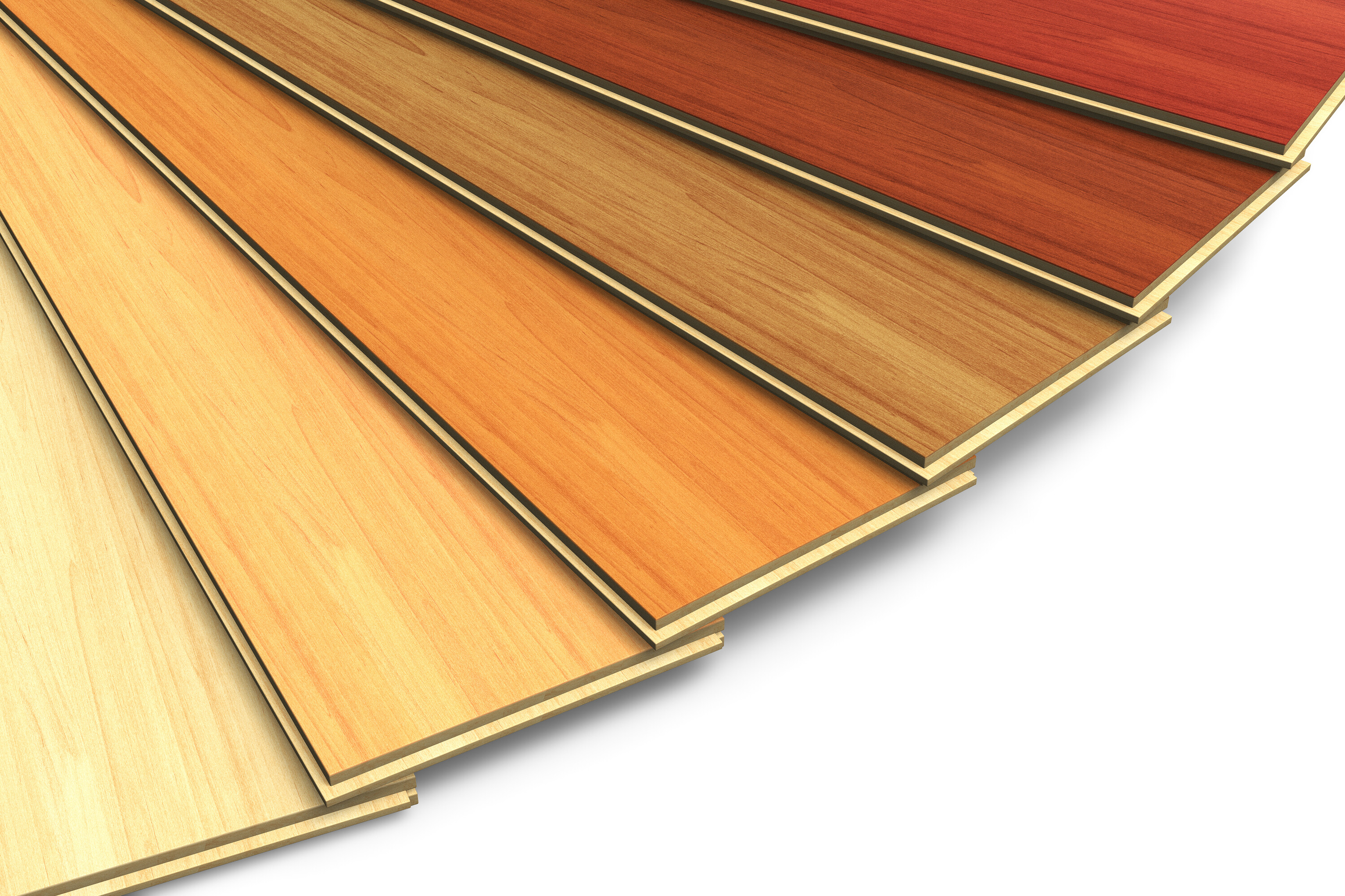 Laminate flooring samples fanned out showing different colors and styles in Concord, CA