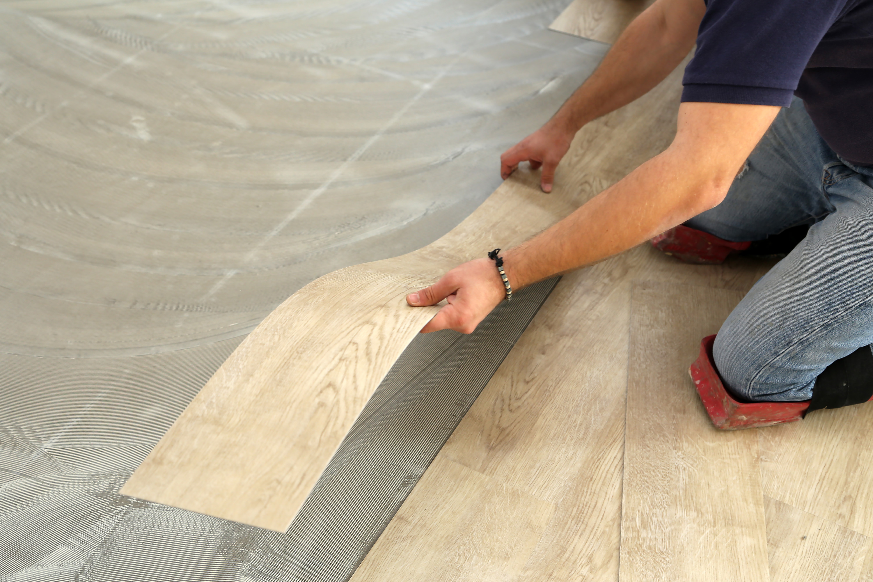 Vinyl tile flooring being installed to a home in Concord, CA