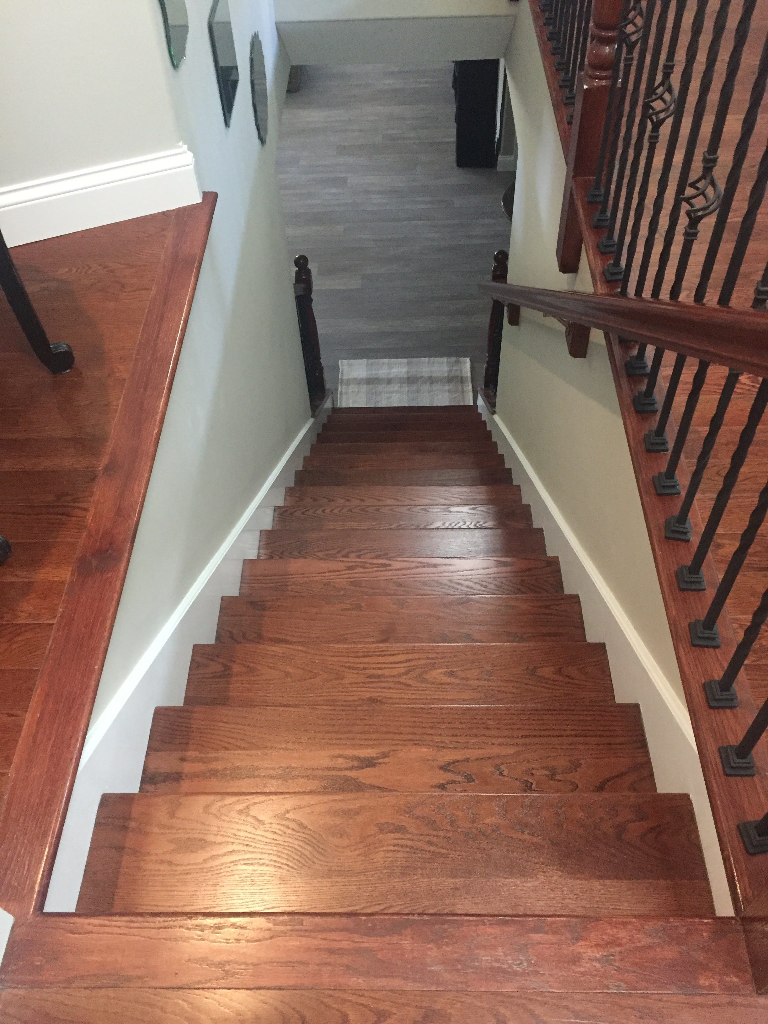 Refinished hardwood stairs in West County