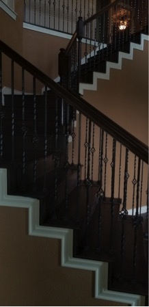 custom stained wood staircase railing