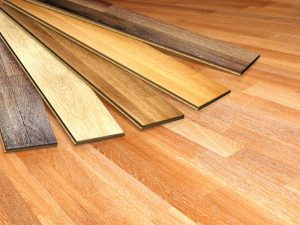 Engineered and solid hardwood flooring samples in a Waukesha home