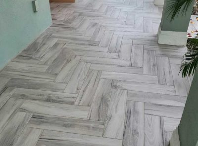 Finished Back Patio With V-Shaped Flooring