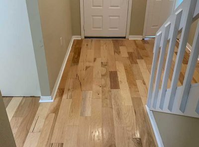 Patterned Hardwood Running Down The Hallway To The Back Door